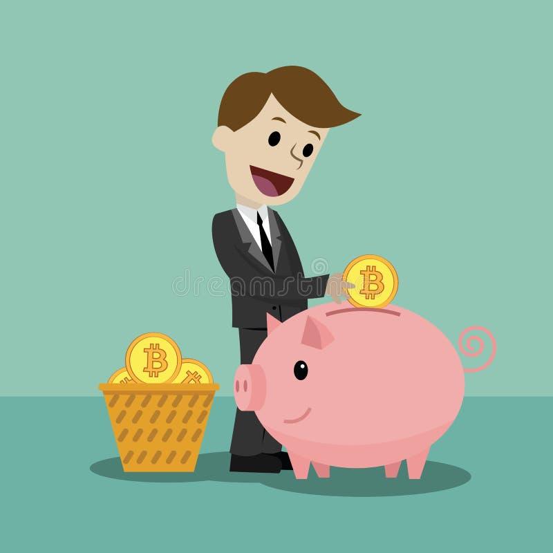 marché de Crypto-devise Concept de finances et de relations Homme d'affaires avec une banque de porc complètement de Bitcoins illustration stock
