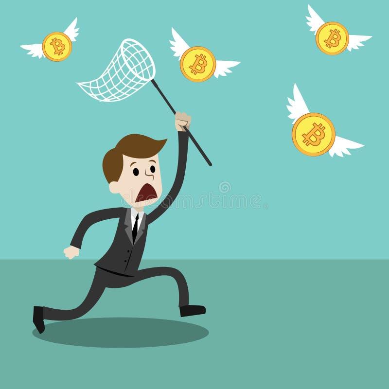 marché de Crypto-devise Homme d'affaires avec un essai net de papillon d'attraper Bitcoin illustration libre de droits