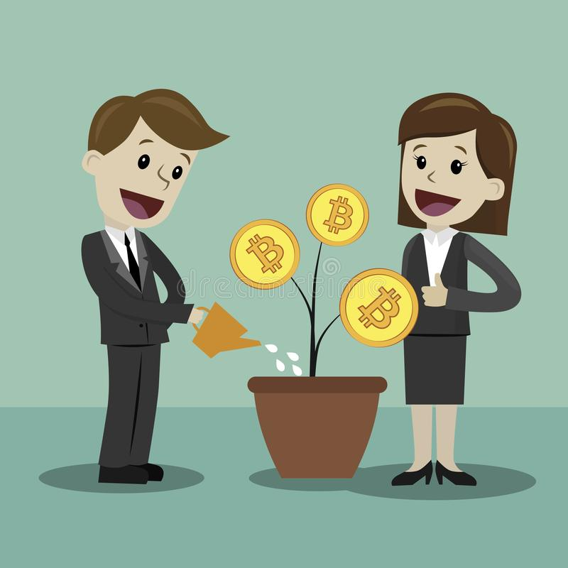 marché de Crypto-devise Homme d'affaires et femme d'affaires recherchant la croissance Bitcoins illustration stock
