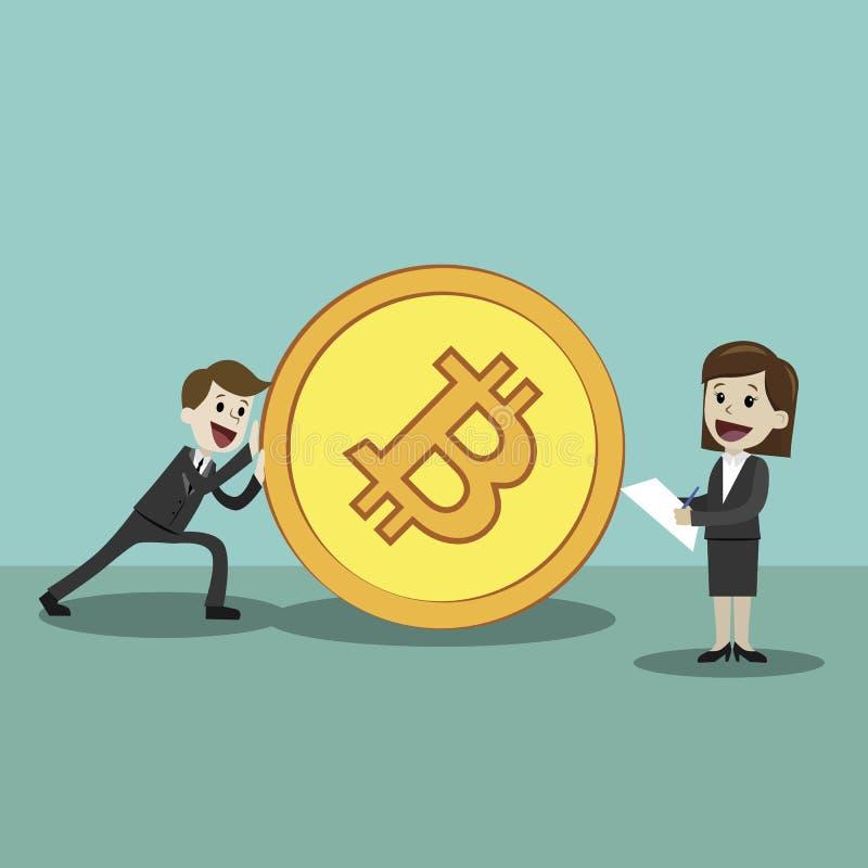 marché de Crypto-devise Homme d'affaires heureux et femme d'affaires réussis poussant grand Bitcoin d'or Mana heureux illustration de vecteur