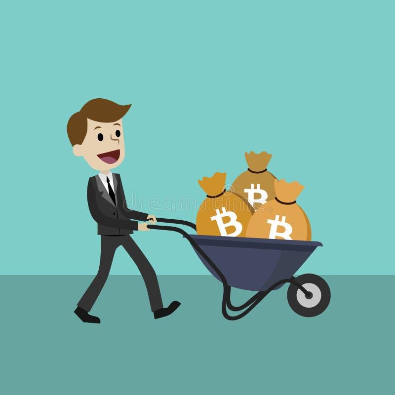 marché de Crypto-devise L'homme d'affaires ou le directeur heureux va avec une brouette pleine de Bitcoins illustration libre de droits