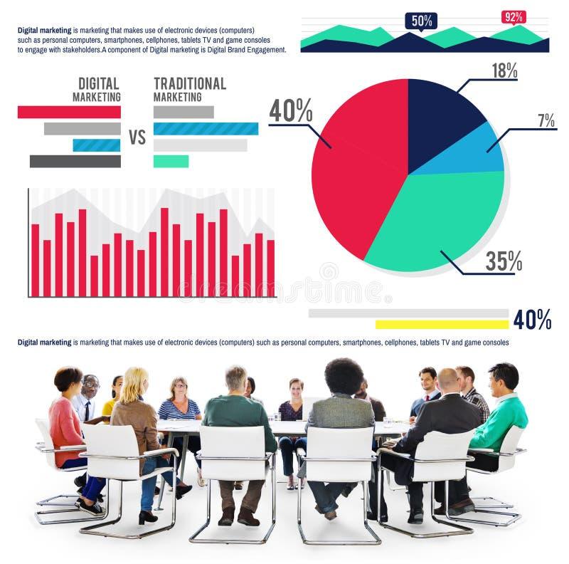 Marché de finances d'analyse de statistiques de graphique de vente de Digital Conce photo libre de droits