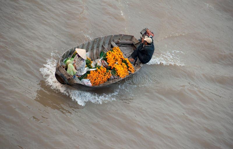 Marché de flottement de delta du Vietnam, le Mékong images libres de droits