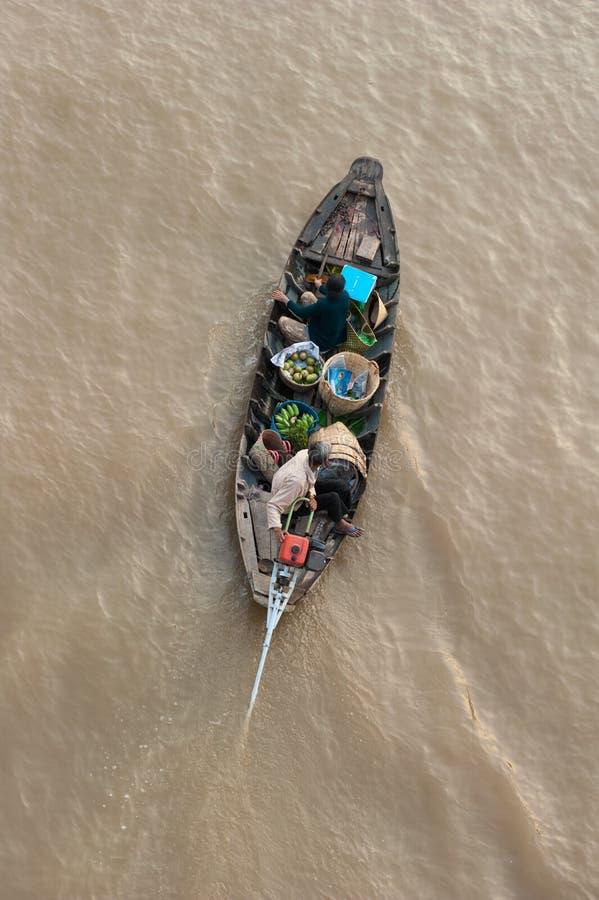 Marché de flottement de delta du Vietnam, le Mékong image stock