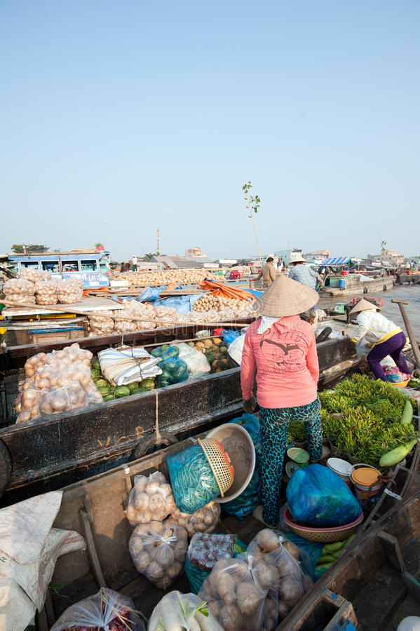 Marché de flottement de delta du Vietnam, le Mékong image libre de droits