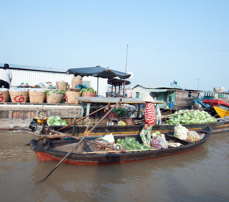 Marché de flottement de delta du Vietnam, le Mékong images stock