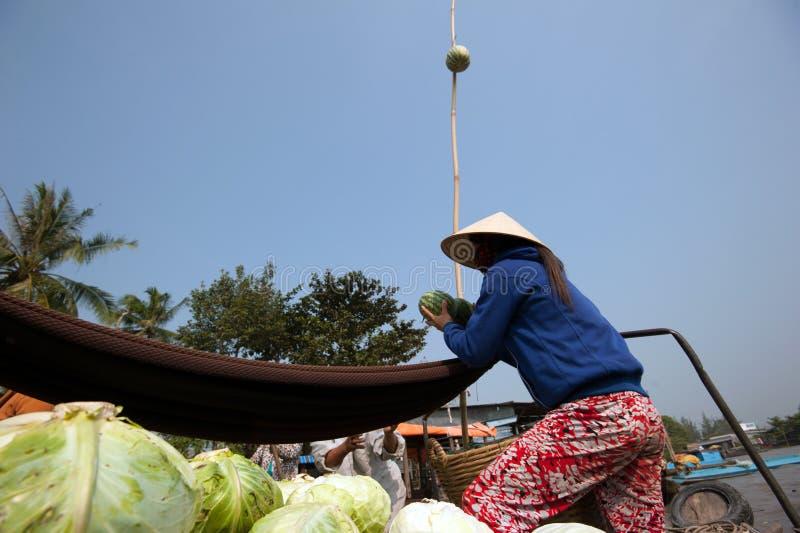Marché de flottement de delta du Vietnam, le Mékong photos stock