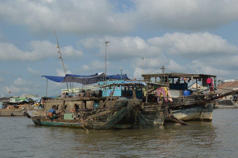 Marché de flottement de delta du Vietnam - du Mékong photos libres de droits
