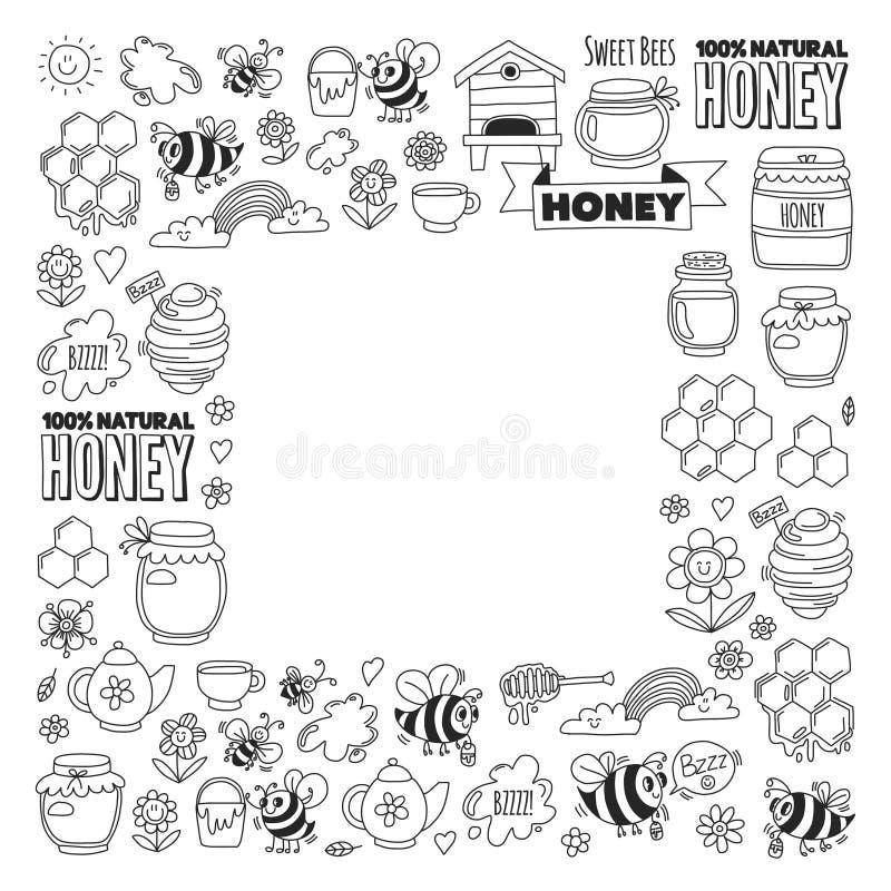 Marché de miel, bazar, images justes de griffonnage de miel des abeilles, fleurs, pots, nid d'abeilles, ruche, tache, le barillet illustration libre de droits