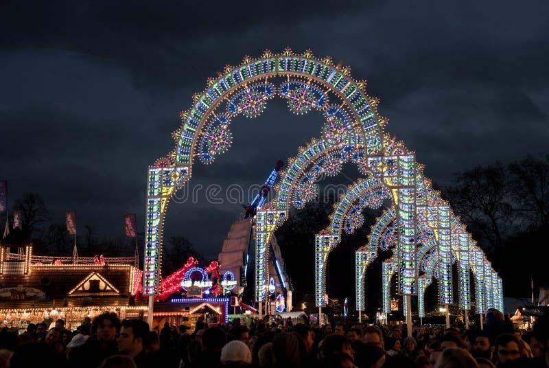 Marché de Noël de Londres du pays des merveilles d'hiver images stock