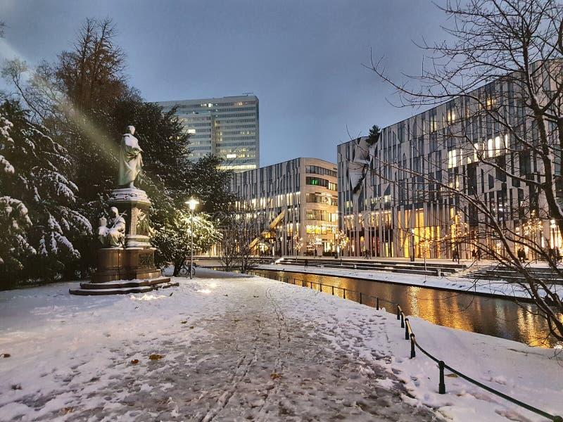 Marché de Noël de Schnee Weinachten de sseldorf de ¼ de DÃ image stock