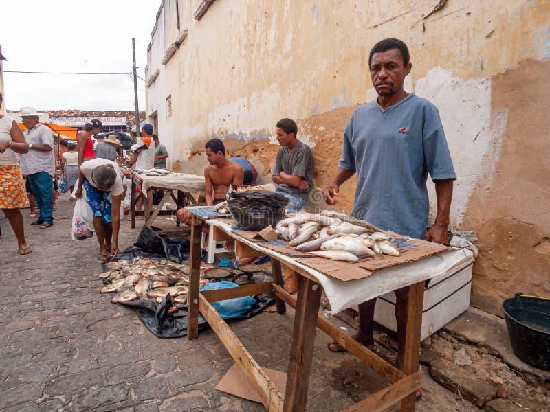 Marché de pêche local Piaçabuçu, Alagoas, Brésil photographie stock libre de droits