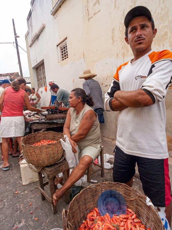 Marché de pêche local Piaçabuçu, Alagoas, Brésil image libre de droits