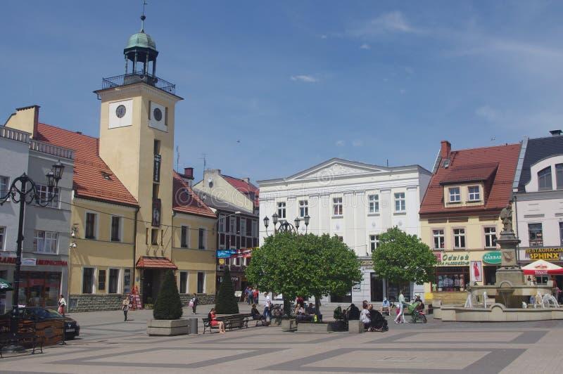 Marché de Rybnik avec la vieille ville hôtel, Pologne images libres de droits
