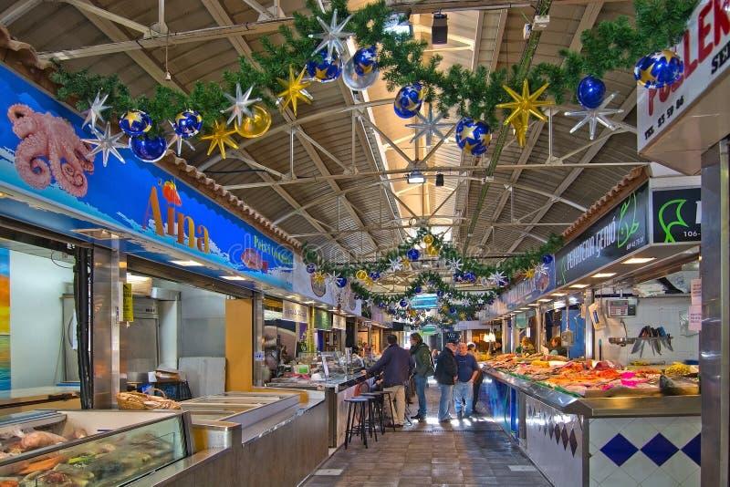 Marché de Santa Catalina de décor de Noël images libres de droits