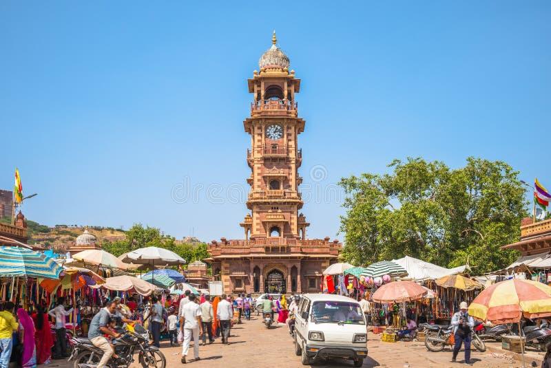 Marché de Sardar et tour d'horloge ghar de Ghanta, Jodhpur photo stock