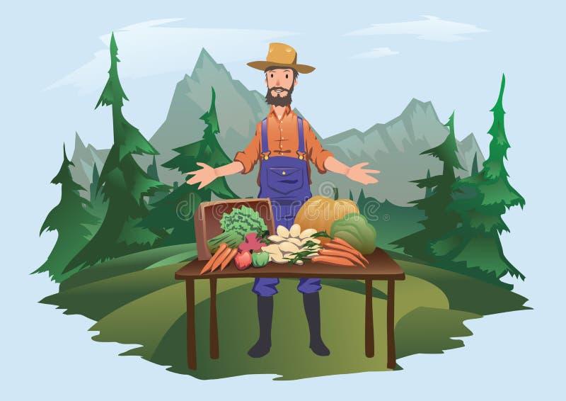 Marché du ` s d'agriculteur, village juste Un homme se tenant derrière un compteur avec des légumes cultivés à la ferme Vecteur d illustration stock