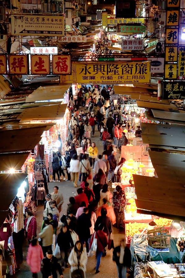 Marché en plein air célèbre dans Mong Kok, Hong Kong photos libres de droits