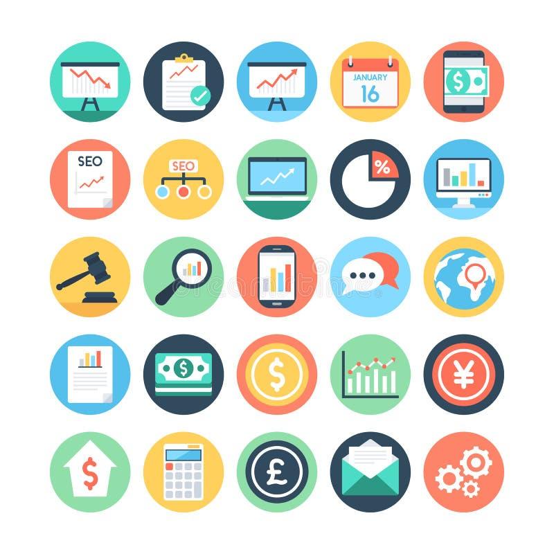 Marché et icônes 1 de vecteur colorées par sciences économiques images libres de droits