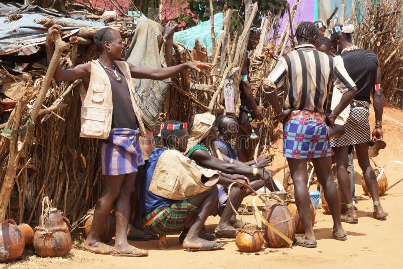 Marché hebdomadaire, Afer principal, Ethiopie, Afrique images stock