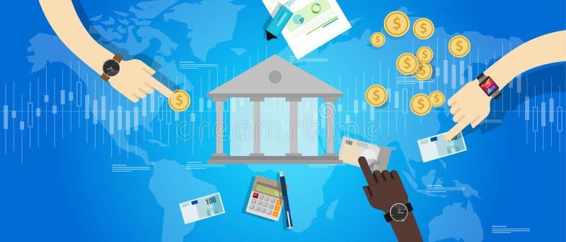 Marché international de secteur bancaire de banque centrale financier illustration stock