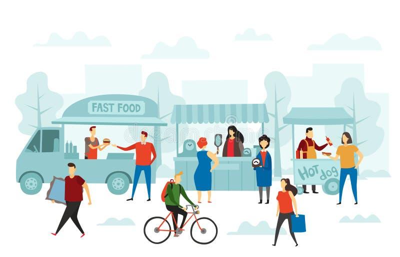 Marché juste de week-end Magasin de rue, camion de nourriture et illustration de vecteur de marchés aux puces illustration stock