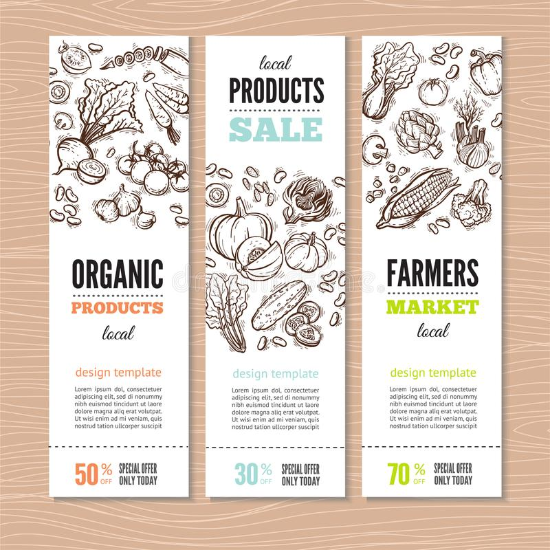 Marché organique Kit Banners illustration stock