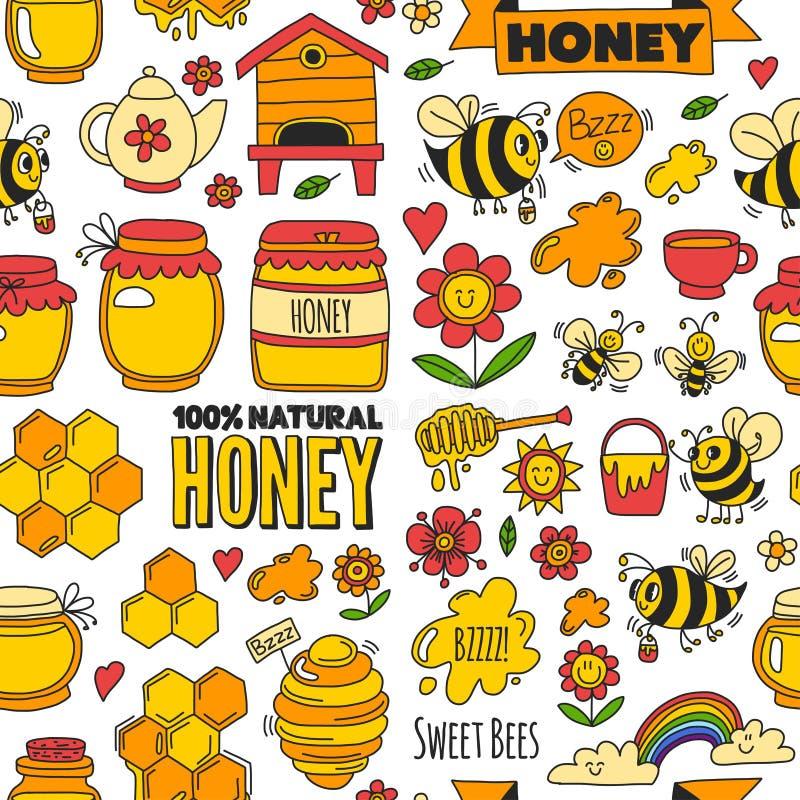 Marché sans couture de miel de modèle, bazar, images justes de griffonnage de miel des abeilles, fleurs, pots, nid d'abeilles, ru illustration de vecteur