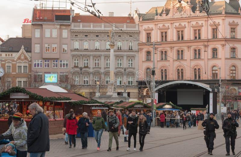 Marchés de Noël chez Liberty Square à Brno images libres de droits