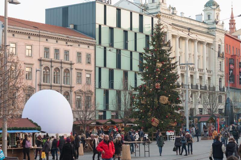 Marchés de Noël sur Liberty Square à Brno images libres de droits