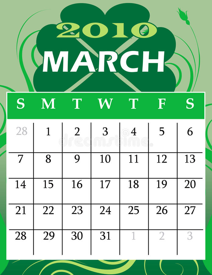 Download March 2010 stock vector. Image of celebration, clover - 11375479