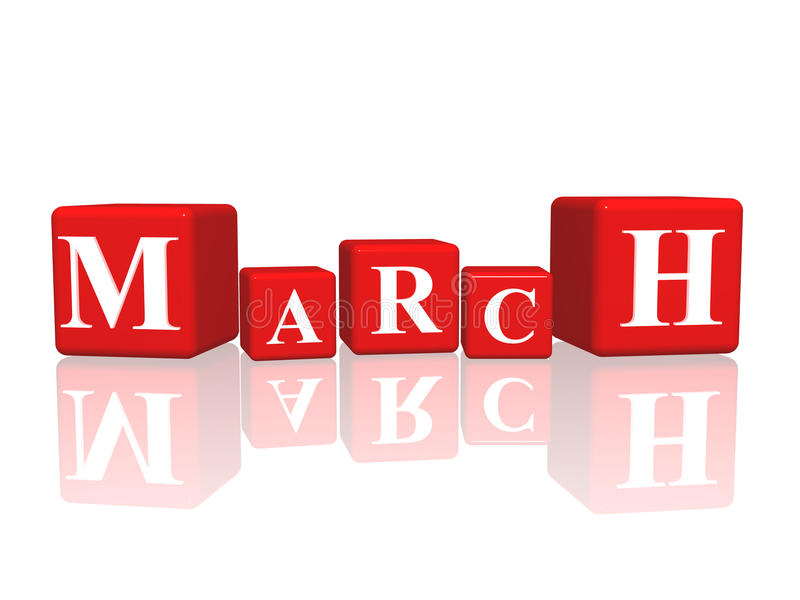 March in 3d cubes stock illustration