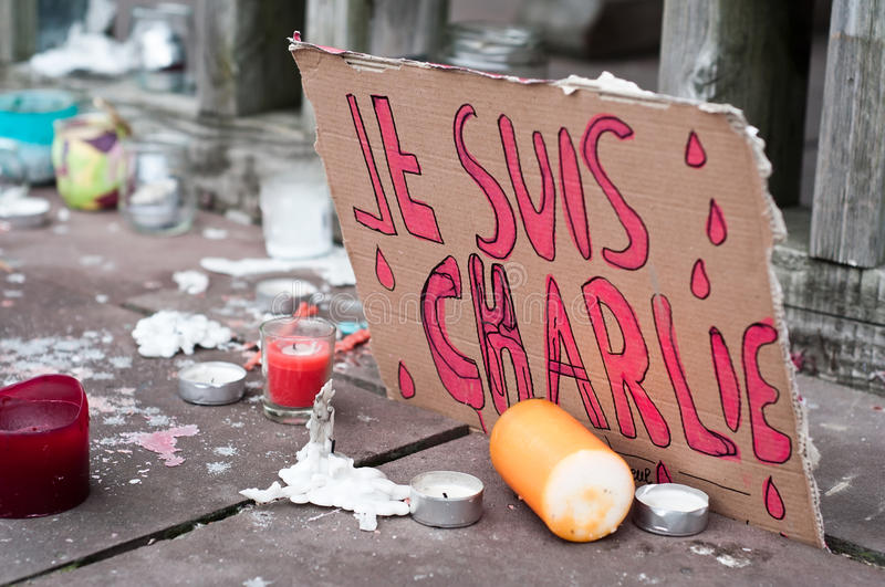 March against Charlie Hebdo magazine terrorism attack, on January 7th, 2015 in Paris. March in mulhouse against Charlie Hebdo magazine terrorism attack, on royalty free stock photos