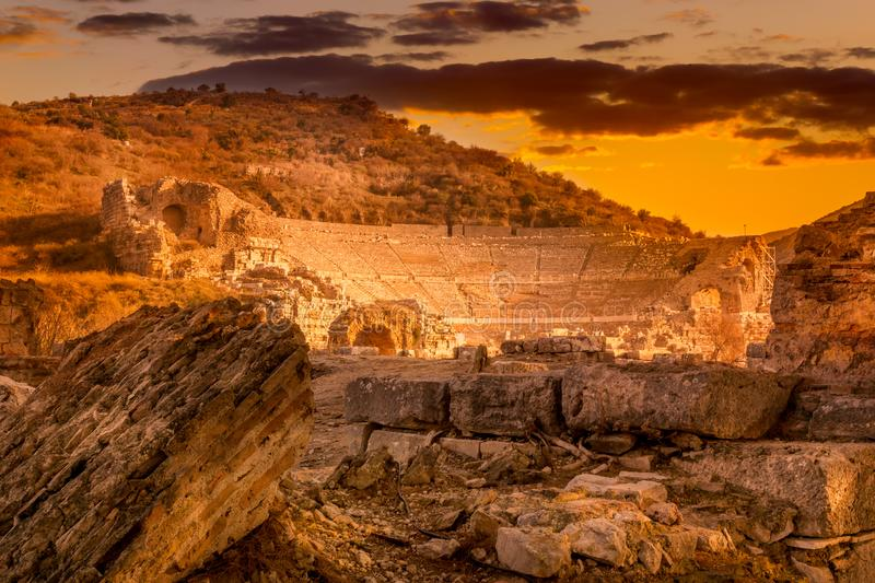 March 2016: ancient Roman ruins of the theater in Ephesus, Turkey at sunset stock image