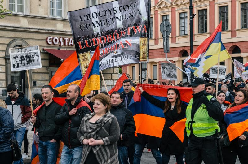 March of Armenian Community anniversary of Armenian Genocide. Warsaw, Poland - April 24, 2017: March of Armenian Community anniversary of Armenian Genocide of stock photos