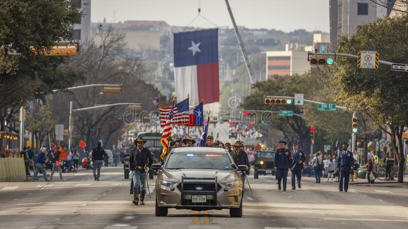 MARCH 3, 2018 - AUSTIN TEXAS -Giant Texas flag over Congress Avenue for the annual Texas. Lone, State stock photos