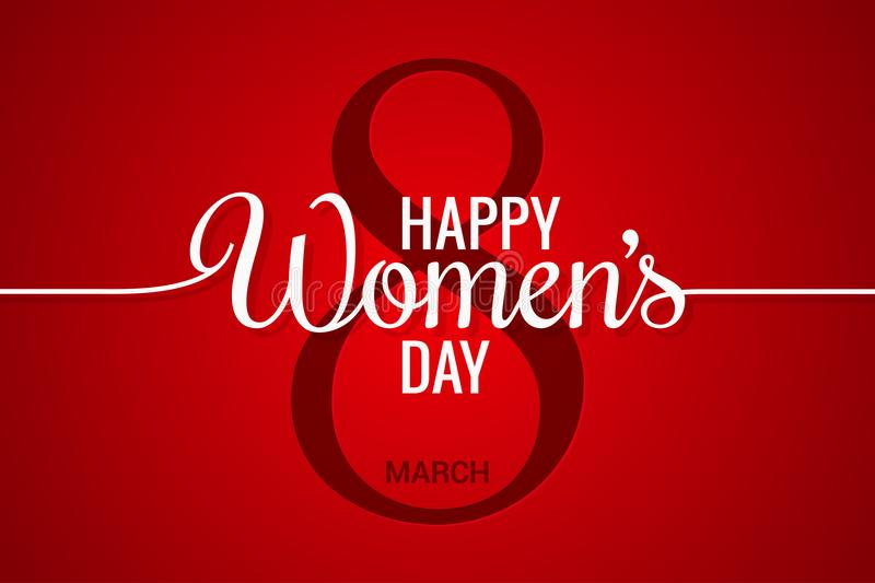 8 march banner. Womens day line on red background. 10 eps