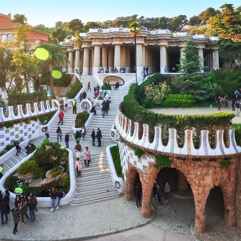 March 2017, Barcelona, Spain - View to the main attaractions of the park Guel full of tourists. Hundred columns stock images