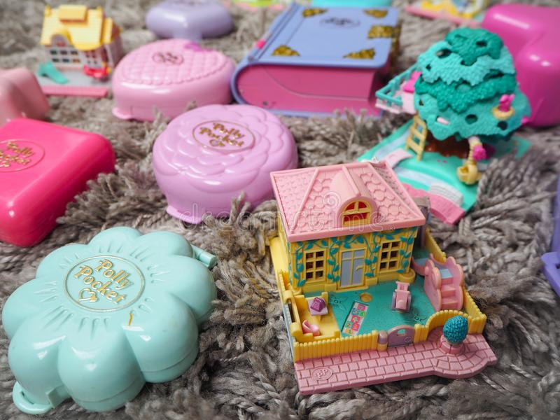 Collection of Polly Pocket`s, miniature dollhouses, that were very popular in the 90`s and now are coveted. March 2019 - Belgium Collection of Polly Pocket`s stock images