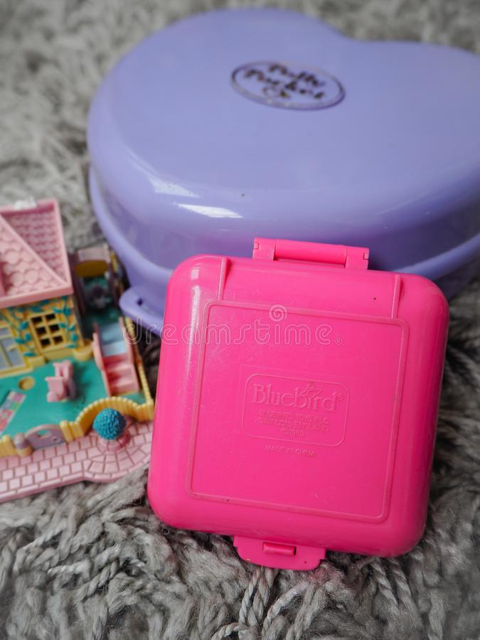 Collection of Polly Pocket`s, miniature dollhouses, that were very popular in the 90`s and now are coveted. March 2019 - Belgium Collection of Polly Pocket`s royalty free stock photography