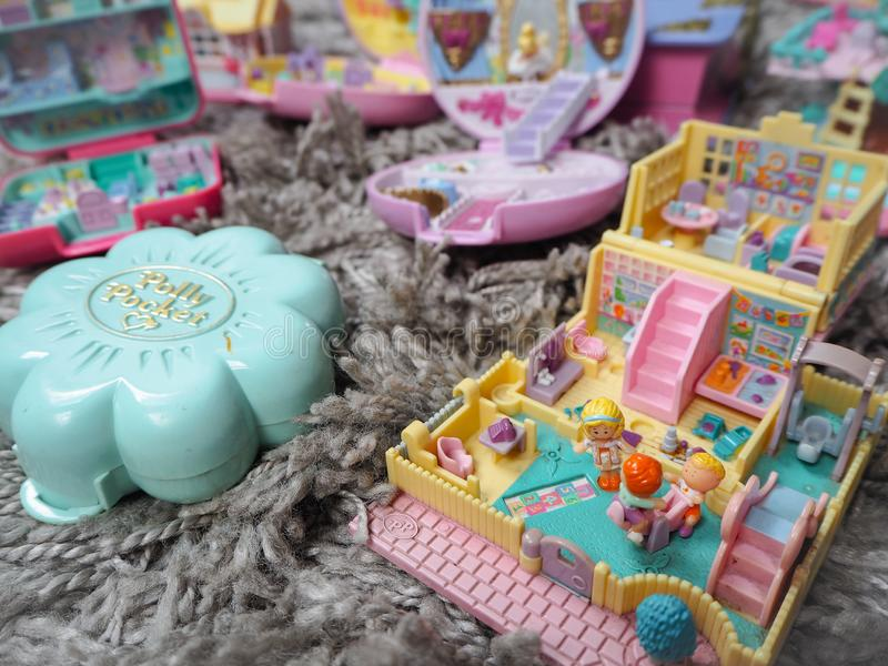 Collection of Polly Pocket`s, miniature dollhouses, that were very popular in the 90`s and now are coveted. March 2019 - Belgium Collection of Polly Pocket`s stock photos
