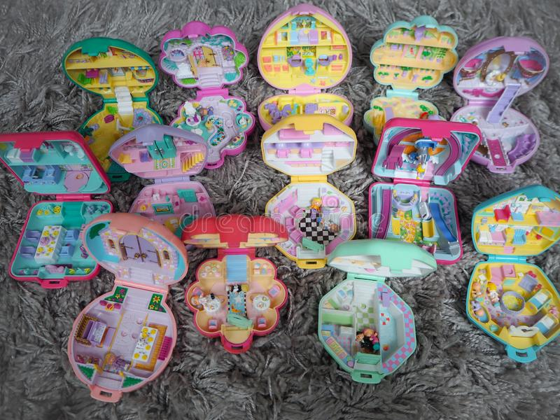 Collection of Polly Pocket`s, miniature dollhouses, that were very popular in the 90`s and now are coveted. March 2019 - Belgium Collection of Polly Pocket`s stock photo