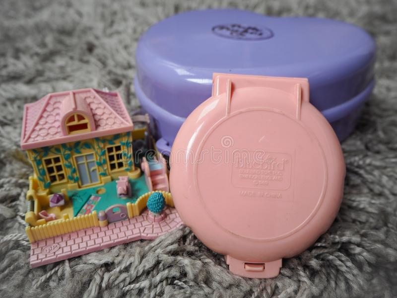 Collection of Polly Pocket`s, miniature dollhouses, that were very popular in the 90`s and now are coveted. March 2019 - Belgium Collection of Polly Pocket`s royalty free stock photo