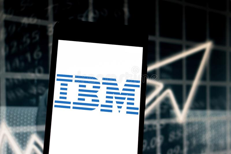 March 29, 2019, Brazil. International Business Machines (IBM) logo on the mobile device. IBM is a US company focused on the area. Of ​​information royalty free stock photography