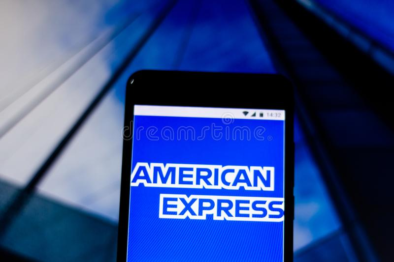 March 10, 2019, Brazil. Logo of the United States financial services company. Logo of the United States financial services company `American Express ` Amex on royalty free stock photography