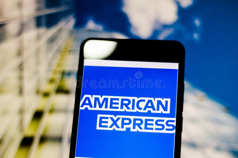 March 10, 2019, Brazil. Logo of the United States financial services company. Logo of the United States financial services company `American Express ` Amex on royalty free stock photo