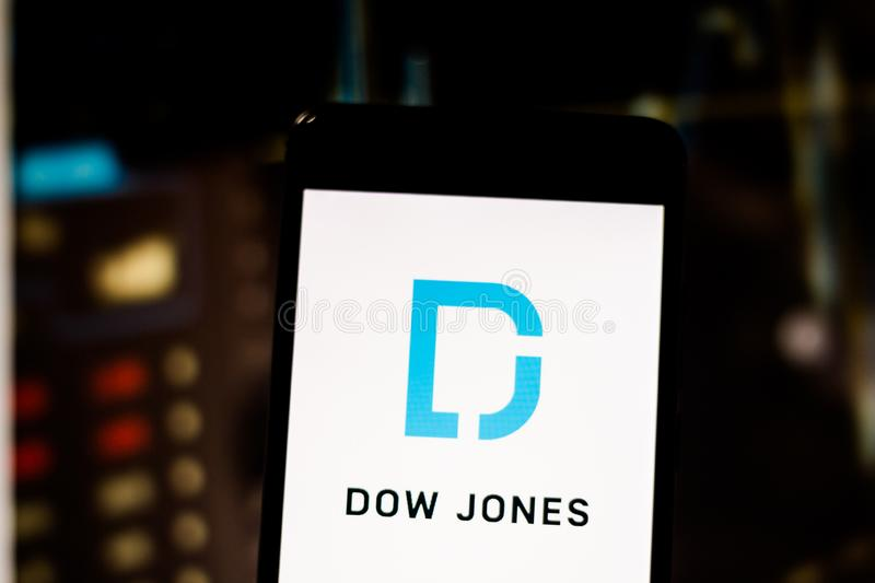 March 10, 2019, Brazil. Logo of the United States international financial publisher. Logo of the United States international financial publisher `Dow Jones & stock photos