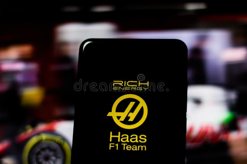 Team logo `Rich Energy Haas F1 Team` Formula 1 on the screen of the mobile device. Haas dispute the world motorsport championship. March 11, 2019, Brazil. Team stock images