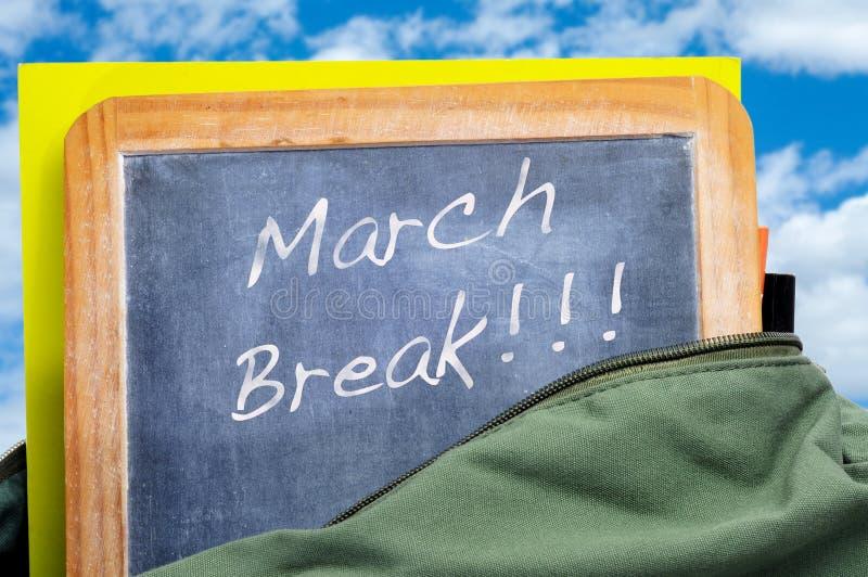 March break. Written in a blackboard in a school bag with books royalty free stock image