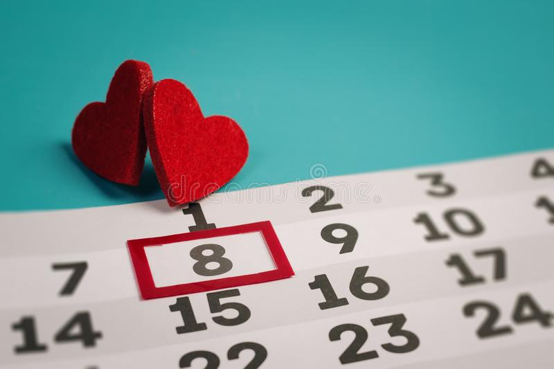 8 march in calendar. How to plan Women`s day. - Image stock photography